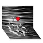 I love black and white 2 LOVE Bottom 3D Greeting Card (7x5)