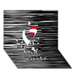 I love black and white 2 Ribbon 3D Greeting Card (7x5)