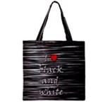 I love black and white 2 Zipper Grocery Tote Bag