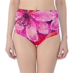 Geometric Magenta Garden High Waist Bikini Bottoms by DanaeStudio