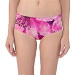 Geometric Magenta Garden Mid-Waist Bikini Bottoms