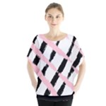 Pink And Black Sketch Checkers Batwing Chiffon Blouse