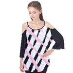 Pink And Black Sketch Checkers Flutter Sleeve Tee