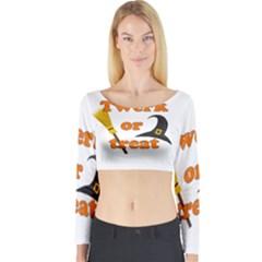Twerk Or Treat   Funny Halloween Design Long Sleeve Crop Top by Valentinaart