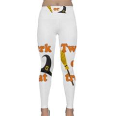 Twerk Or Treat   Funny Halloween Design Yoga Leggings  by Valentinaart