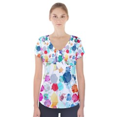 Colorful Diamonds Dream Short Sleeve Front Detail Top by DanaeStudio
