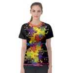 Crazy Multicolored Double Running Splashes Women s Sport Mesh Tee