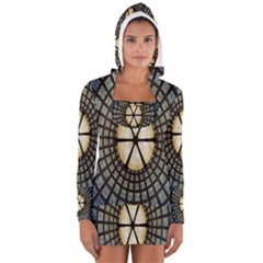 Stained Glass Colorful Glass Women s Long Sleeve Hooded T-shirt by Zeze