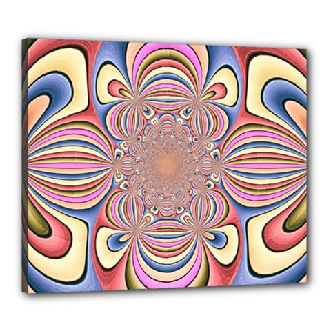Pastel Shades Ornamental Flower Canvas 24  X 20  by designworld65