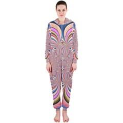 Pastel Shades Ornamental Flower Hooded Jumpsuit (ladies)  by designworld65