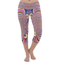 Pastel Shades Ornamental Flower Capri Yoga Leggings by designworld65