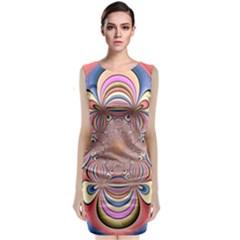 Pastel Shades Ornamental Flower Classic Sleeveless Midi Dress by designworld65