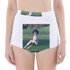 English Springer Catching Ball High-Waisted Bikini Bottoms