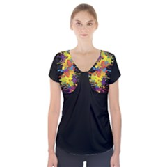 Crazy Multicolored Double Running Splashes Short Sleeve Front Detail Top by EDDArt