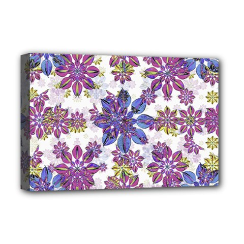 Stylized Floral Ornate Pattern Deluxe Canvas 18  X 12   by dflcprints