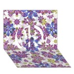 Stylized Floral Ornate Pattern Peace Sign 3D Greeting Card (7x5)