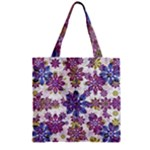 Stylized Floral Ornate Pattern Zipper Grocery Tote Bag