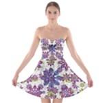 Stylized Floral Ornate Strapless Bra Top Dress