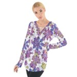 Stylized Floral Ornate Women s Tie Up Tee