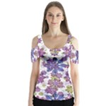 Stylized Floral Ornate Butterfly Sleeve Cutout Tee