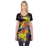 Crazy Multicolored Double Running Splashes Short Sleeve Tunic