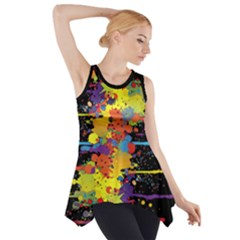 Crazy Multicolored Double Running Splashes Side Drop Tank Tunic by EDDArt