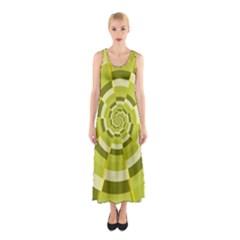 Crazy Dart Green Gold Spiral Sleeveless Maxi Dress by designworld65