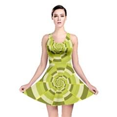 Crazy Dart Green Gold Spiral Reversible Skater Dress by designworld65