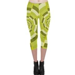 Crazy Dart Green Gold Spiral Capri Leggings  by designworld65