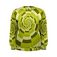 Crazy Dart Green Gold Spiral Women s Sweatshirt by designworld65