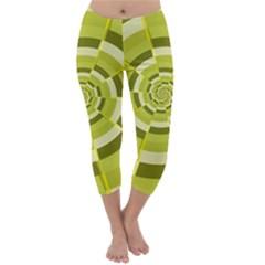 Crazy Dart Green Gold Spiral Capri Winter Leggings  by designworld65