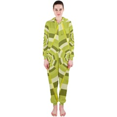 Crazy Dart Green Gold Spiral Hooded Jumpsuit (ladies)  by designworld65