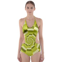 Crazy Dart Green Gold Spiral Cut Out One Piece Swimsuit by designworld65