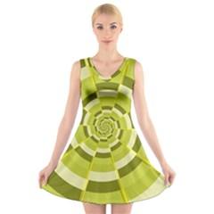 Crazy Dart Green Gold Spiral V Neck Sleeveless Skater Dress by designworld65