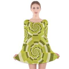 Crazy Dart Green Gold Spiral Long Sleeve Velvet Skater Dress by designworld65