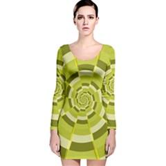 Crazy Dart Green Gold Spiral Long Sleeve Velvet Bodycon Dress by designworld65