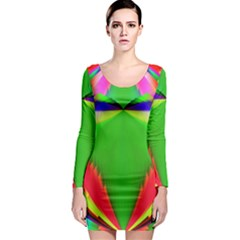 Colorful Abstract Butterfly With Flower  Long Sleeve Bodycon Dress by designworld65