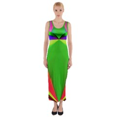 Colorful Abstract Butterfly With Flower  Fitted Maxi Dress by designworld65