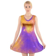 Colorful Universe V Neck Sleeveless Skater Dress by designworld65