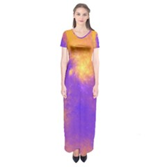 Colorful Universe Short Sleeve Maxi Dress by designworld65