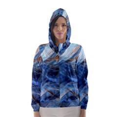 Blue Colorful Abstract Design  Hooded Wind Breaker (women) by designworld65