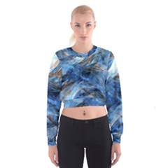 Blue Colorful Abstract Design  Women s Cropped Sweatshirt by designworld65