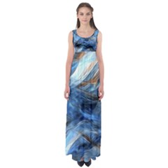 Blue Colorful Abstract Design  Empire Waist Maxi Dress by designworld65
