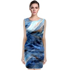 Blue Colorful Abstract Design  Classic Sleeveless Midi Dress by designworld65