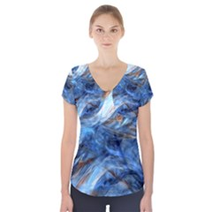 Blue Colorful Abstract Design  Short Sleeve Front Detail Top by designworld65