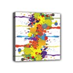 Crazy Multicolored Double Running Splashes Mini Canvas 4  x 4