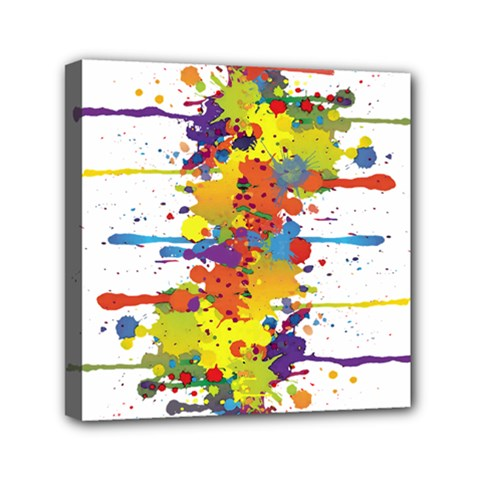 Crazy Multicolored Double Running Splashes Mini Canvas 6  X 6  by EDDArt