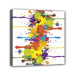 Crazy Multicolored Double Running Splashes Mini Canvas 6  x 6