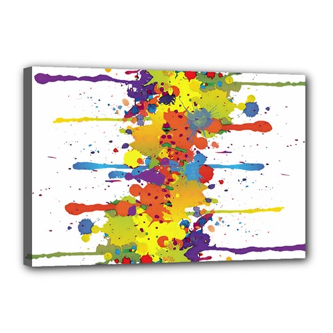 Crazy Multicolored Double Running Splashes Canvas 18  X 12  by EDDArt
