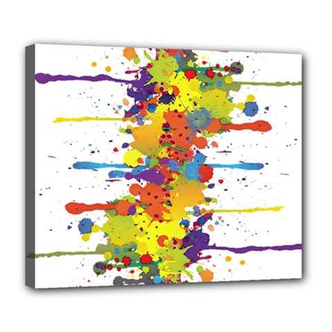 Crazy Multicolored Double Running Splashes Deluxe Canvas 24  X 20   by EDDArt